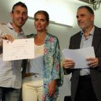 El concejal de Turismo, Àlex Medrano, con su homóloga en Sant Boi, Elena Amat, y el diputado adjunto de Turismo de la Diputació, Pere Regull