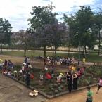 Imagen de los niños creando el jardín de las mariposas