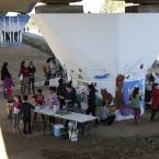 Els infants van col·laborar en la creació del mural