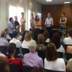 L'alcalde, en un moment de la presentació del nou equip als treballadors