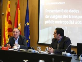 Antoni Poveda durant la presentació de les dades del transport públic