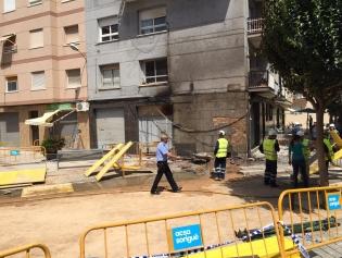 Afectació de l'incendi en una de les façanes del carrer Francecs Cambó