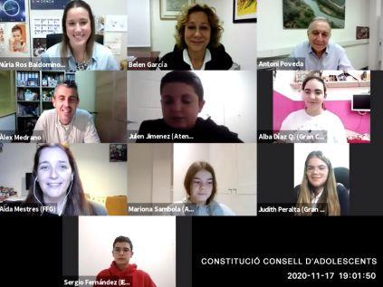 Imagen de la sesión telemática de constitución del Consejo de Adolescentes 2020-2021